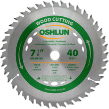 Oshlun SBW-072540 7-1/4-Inch 40 Tooth ATB Finishing and Framing Saw Blade with 5/8-Inch Arbor (Diamond Knockout)