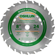 Oshlun SBW-080024 8-Inch 24 Tooth ATB General Purpose and Framing Saw Blade with 5/8-Inch Arbor (Diamond Knockout)