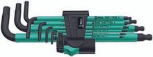 Wera 950 SPKL/9 SM 9 Pc Ball End Hex L-Key Set, 1.5-10mm