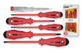 6pc Slotted & Phillips Insulated Screwdriver Set w/ Mains Tester, Felo 50120