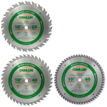 The Ultimate Woodworker's 3pc Saw Blade Set for wood applications. Each blade features precision ground micro grain carbide tips, copper plugged expansion slots for less noise and vibration and an anti-kickback tooth design for added safety.