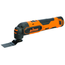 Triton T120T Oscillating Multi-Tool cuts, sands, scrapes, grinds, rasps and polishes. Delivers high-performance sawing without a rotating blade. Powerful Mabuchi RS-550 motor delivers superior performance & rubber grips reduces vibration.  Includes 2 x 1.5Ah batteries with Samsung cells and charger. Variable speed 6,000-16,000 oscillations per minute.
