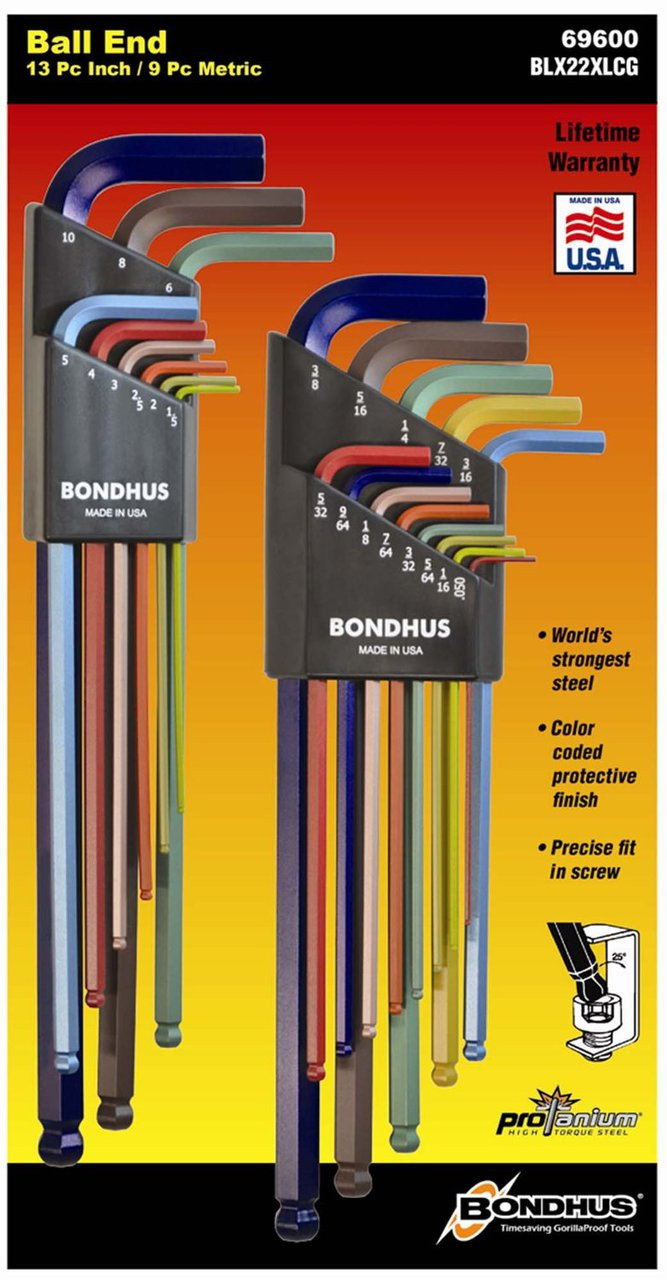 225a74218b7 Bondhus 69600 Double Pack ColorGuard Ball End L-Wrench Set with 13pc  Imperial and 9pc Metric- 100-69600