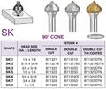 90deg Cone Shape Carbide Bur, 3/4 Dia, 1/4 Shank, 3/8 Cut Length, Dbl Cut, Alfa Tool B71325D