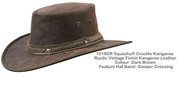 Kangaroo Leather Foldable Hat - Dark Brown