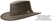 Oiled Leather Foldaway Hat - Dark Brown