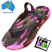 Starfish Kids Thongs - Pink and Black