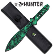 Green Zombie Skull Camo Throwing Knife