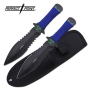 Blue Biohazard Throwing Knives