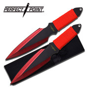 Red Cord Wrapped Throwing Knife Set