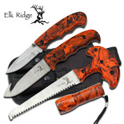 Elk Ridge Hunting  Knife Kit - Orange Camo