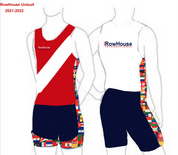 MANADATORY FOR ALL ROWERS 2021 - 2022 Competitive Racing Unisuit Dk. Blue Bottom, Red front top with white diagonal Stripe, Back top white, Side panel with flags, bottom of shorts with flags.  Sizes XS-XL