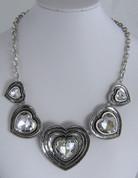 Crystal 5 Drop Heart  Necklace
