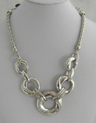 Silver Round link  Necklace