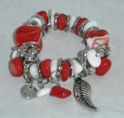 Red and White Bead Braclet