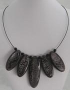 Black Silver foil Resin Necklace