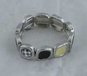 Cream Black and Check silver Braclet