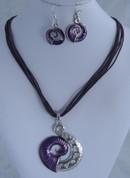 Purple koru Necklace Set