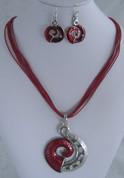 Red koru Necklace Set