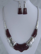 Red and Silver Resin Necklace Set