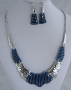 Blue and Silver Resin Necklace Set