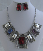 Red and Silver 7 drop Necklace Set