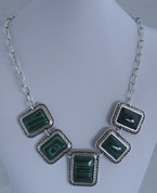 Silver and Green 7 drop Necklace