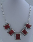 Silver and Red 7 drop Necklace