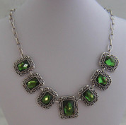 Silver and Green 7 drop Glass Necklace