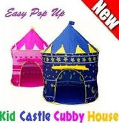Kids Pop Up Tent Blue or Pink Princess Play Tent