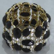 Black and Diamantie Stretch Bracelet