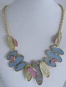 Blue and Gold Oval Necklace