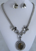 Browns and Silver  Necklace