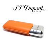 St. Dupont Cigar Case - Metal & Leather - for 2 Cigars - Orange