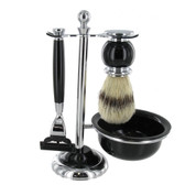 Artamis - Chrome & Black Mach 3 Shaving Set With Badger Brush