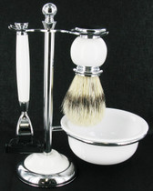 Artamis - Chrome & White Mach 3 Shaving Set With Badger Brush