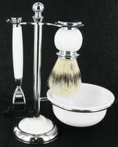 Artamis - Chrome & White Mach 3 Shaving Set With Badger Brush