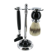 Artamis - Chrome & Black Mach 3 Razor & Badger Brush Set
