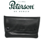 Peterson -Leather Tobacco Pouch  Press Stud Black - (103)