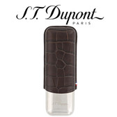 ST Dupont Dandy Double Cigar Case - Metal & Leather - Croc Effect Brown