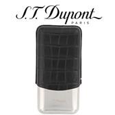ST Dupont Dandy Triple Cigar Case - Metal & Leather - Croc Effect Black