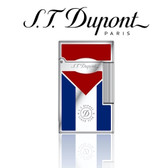 S.T. Dupont - Ligne 2 (Line 2) - Cigar Club - Red & Blue Natural Lacquer - Palladium Lighter