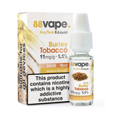 88 Vape - Burley Tobacco E Liquid - 11mg / 16mg Any Tank - 20 x 10ml (200ml Total)