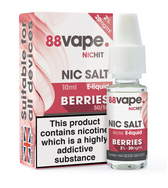 88 Vape - 20mg -  Berries E Liquid - 50/50 Nic Hit - 10 x 100ml (100ml Total)