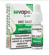 88 Vape - 20mg -  Menthol E Liquid - 50/50 Nic Hit - 10 x 100ml (100ml Total)