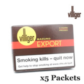 Villiger - Export Maduro Pressed - 5 Packets of 5 (25 Cigars in Total)