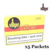 Villiger - Export Pressed - 5 Packets of 5 Cigars (25 Cigars in Total)