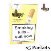 Villiger - Premium No.7 Sumatra - 5 Packets of 5 Cigars (25 Cigars in Total)