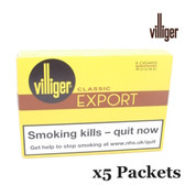 Villiger - Export Round - 5 packets of 5 Cigars (25 Cigars in Total)