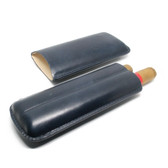 Artamis - Navy Leather Cigar Case (2 x Churchill)
